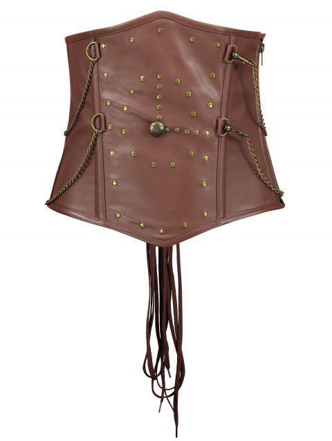 Rivets Chains Steam Punk Strapped Underbust Corset - CAPPUCCINO L