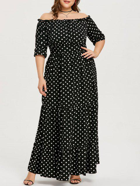 Plus Size Polka Dot Long Dress - BLACK 4XL