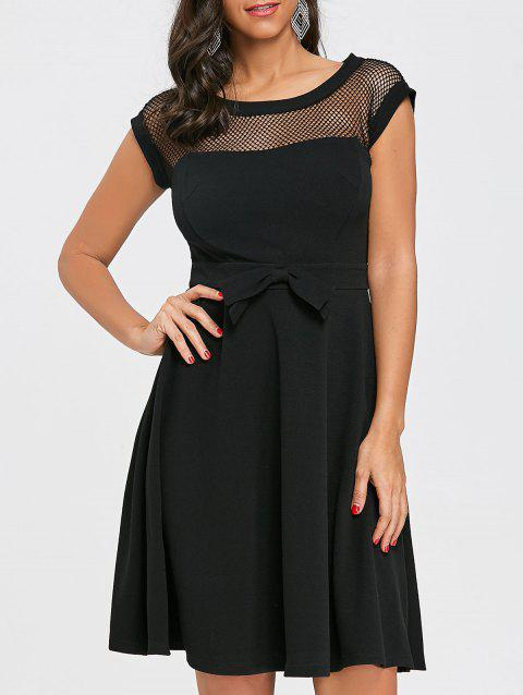 Mesh Panel Cap Sleeve Flare Dress - BLACK XL