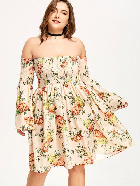 Plus Size Off The Shoulder Hawaiian Dress - APRICOT 4XL