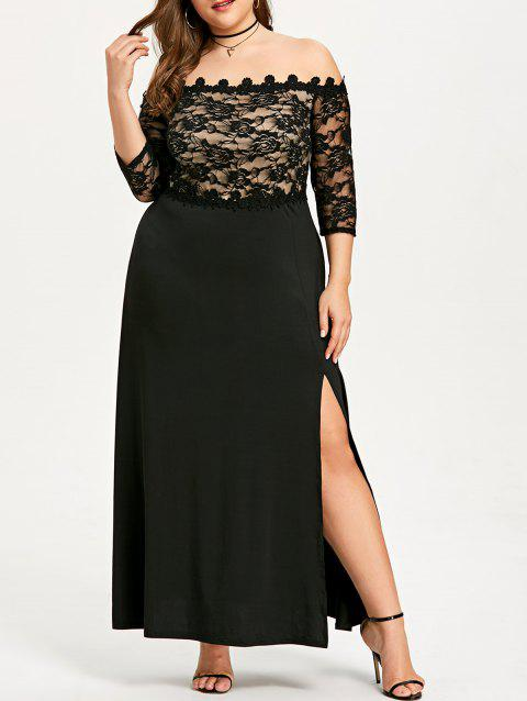 Plus Size Lace Maxi Slit Prom Dress - BLACK 3XL