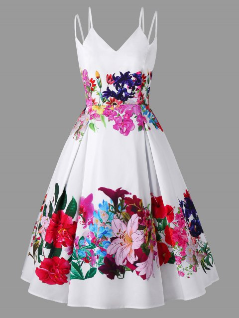 b10e580392 41% OFF] 2019 Plus Size Double Straps Floral Swing Dress In WHITE ...