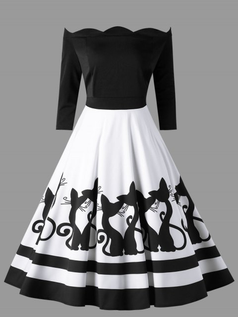 28c39b726fb3 Plus Size Kitten Scalloped Off The Shoulder Retro Dress - WHITE/BLACK 4XL