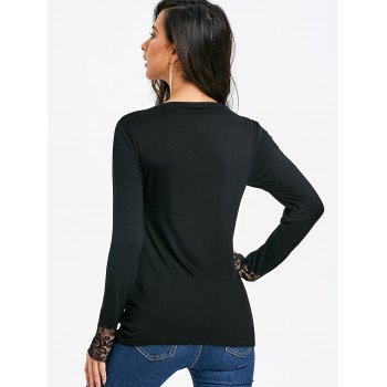 Lace Insert Heap Front Long Sleeve T-shirt - BLACK XL