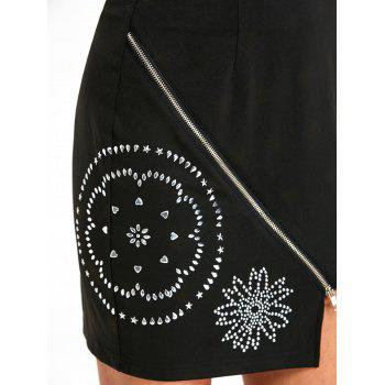 Flower Rivets High Waist Mini Skirt - BLACK L