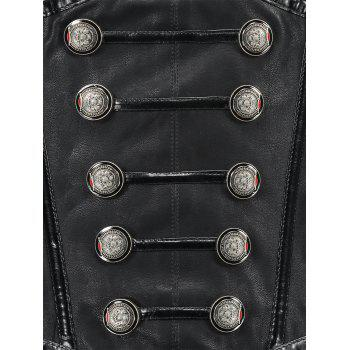 Buttoned Side Zip Cincher Corset - BLACK L