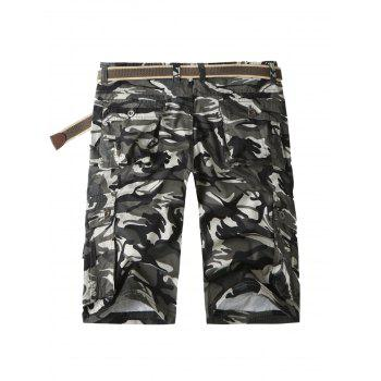 Zip Fly Flap Pockets Camo Cargo Shorts - GRAY 36