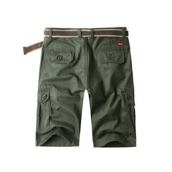 Zipper Fly Bermuda Cargo Shorts with Pockets - ARMY GREEN 38