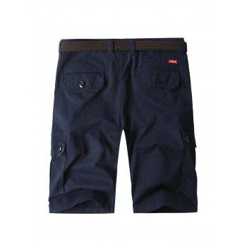 Zipper Fly Bermuda Cargo Shorts with Pockets - PURPLISH BLUE 34