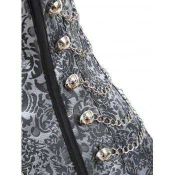 Brocade Chains Vintage Cincher Corset - GRAY M