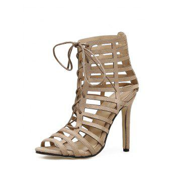 Hollow Out Stiletto Heel Gladiator Sandals - APRICOT 40