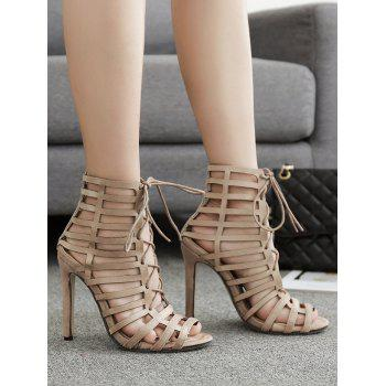 Hollow Out Stiletto Heel Gladiator Sandals - APRICOT 35