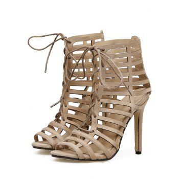 Hollow Out Stiletto Heel Gladiator Sandals - APRICOT 38