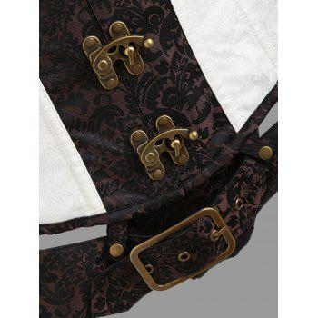 Brocade Vintage Cincher Lace-up Corset - CAPPUCCINO S