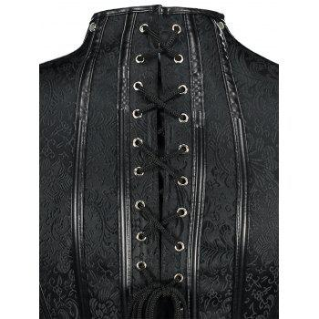 Rivet Brocade Trainer Cincher Steampunk Corset - Noir M