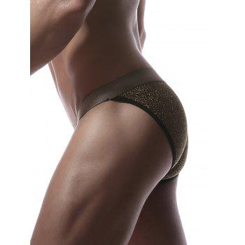 Faux Belt Print Elastic Waist Briefs - YELLOW XL