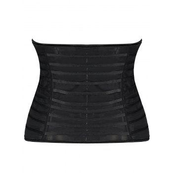 Mesh See Through Underbust Corset - BLACK 2XL