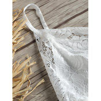 Lace Insert Low Back Slip Babydoll - WHITE M