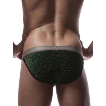 Faux Belt Print Elastic Waist Briefs - GREEN L