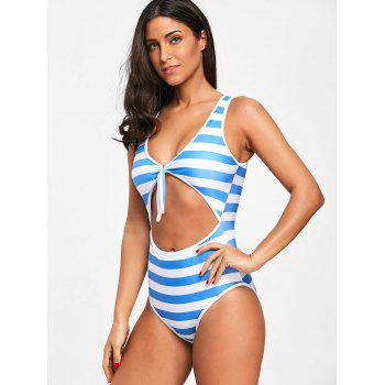 Cut Out Stripe High Leg Swimsuit - BLUE STRIPE S