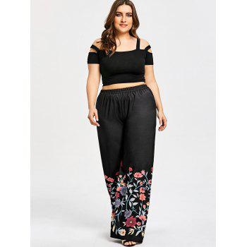 Plus Size Elastic Waistband Floral Wide Leg Pants - BLACK 3XL