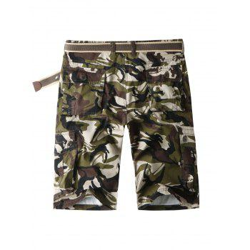 Zip Fly Flap Pockets Camo Cargo Shorts - ARMY GREEN 36