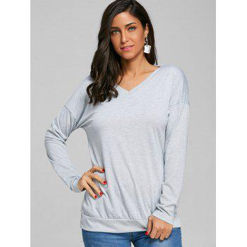 V-neck Cut Out Wrap Back T-shirt - GRAY XL