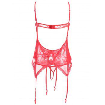 Plus Size See Through Lace Lingerie Chemise - RED 4XL