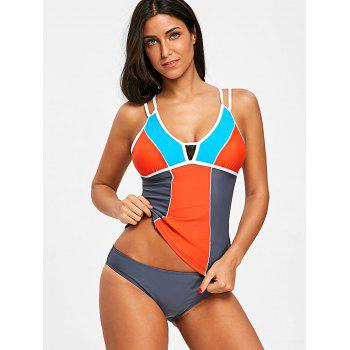 Color Block Lace Insert Tankini Set - COLORMIX XL