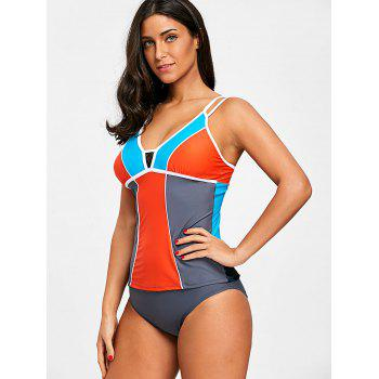 Ensemble de tankini à empiècement en dentelle Color Block - multicolorcolore 2XL