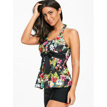 Flower Print Strappy Tankini Set - BLACK XL