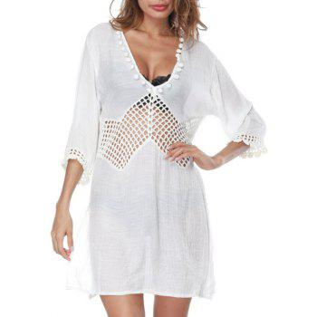 Side Slit Openwork Cover Up Dress - WHITE ONE SIZE