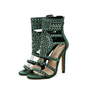 Strappy Rhinestone Embellished Sandals - GREEN 37