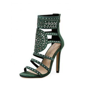 Strappy Rhinestone Embellished Sandals - GREEN 39