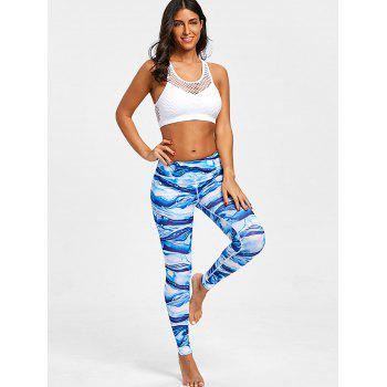 Ocean Waves Printed Elastic Waisted Workout Leggings - COLORMIX XL