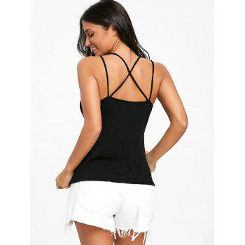 Back Cross Strappy Tank Top - BLACK L
