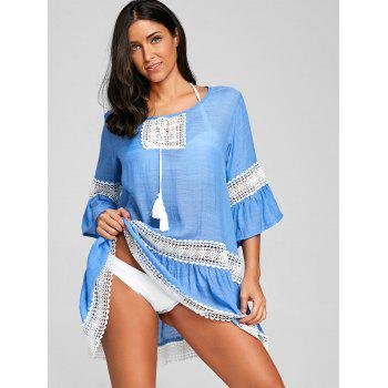 Flare Sleeve Crochet Trimmed Cover Up Dress - BLUE ONE SIZE