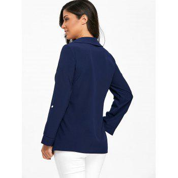 Crossover Button Up Asymmetric Blouse - PURPLISH BLUE S