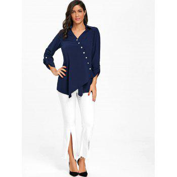 Crossover Button Up Asymmetric Blouse - PURPLISH BLUE M