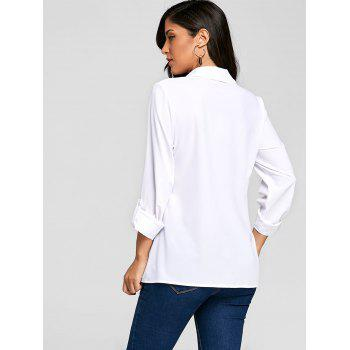 Crossover Button Up Asymmetric Blouse - WHITE M