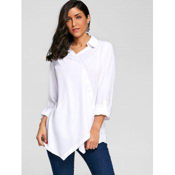 Crossover Button Up Asymmetric Blouse - WHITE S