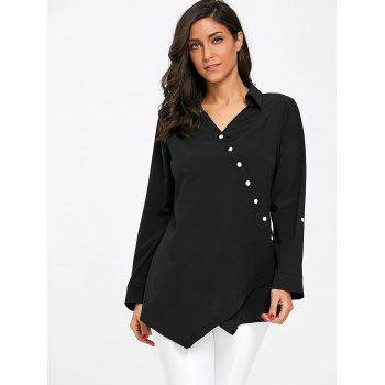 Crossover Button Up Asymmetric Blouse - BLACK XL