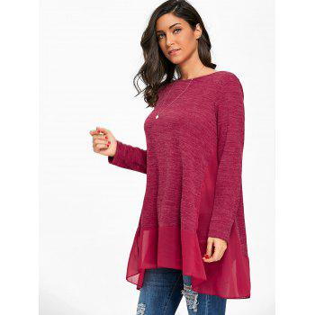 Heather Chiffon Trimmed Long Sleeve Top - BURGUNDY XL