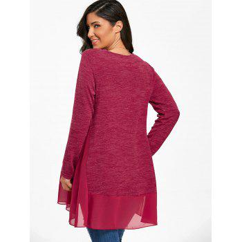 Heather Chiffon Trimmed Long Sleeve Top - BURGUNDY L