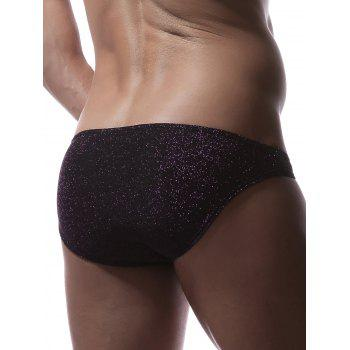 Stretchy Twinkling U Pouch Briefs - PURPLE L