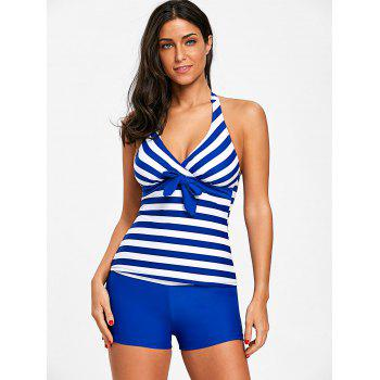 Striped Open Back Tankini Set - BLUE S
