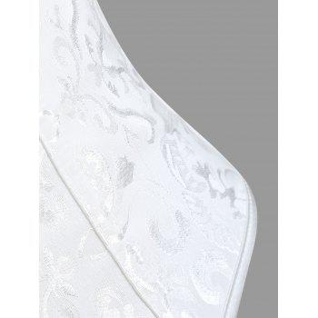 Lace-up Brocade Corset Vest - WHITE S