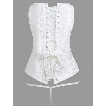 Lace-up Brocade Corset Vest - WHITE L