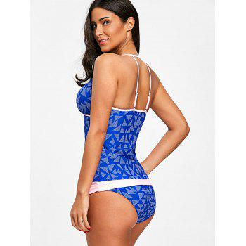 Strappy Geometric Print Tankini Set - BLUE S