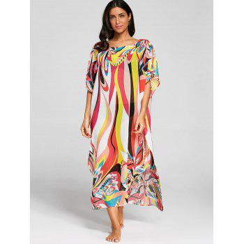 Flower Print Kaftan Beach Cover Up Dress - COLORMIX ONE SIZE